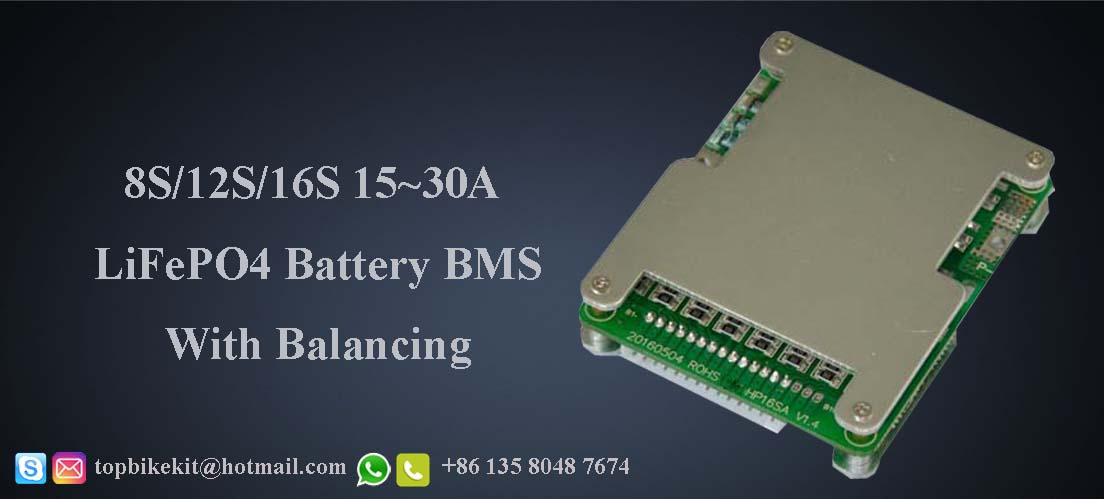 8S/12S/16S 15-30A LiFeP04 Battery BMS System with Balancing