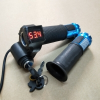 12V-72V Ebike Twist Grip Throttle With Power Lock and LED Digital Voltage Display