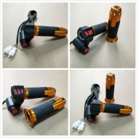 12V-72V Ebike Twist Grip Throttle With 3 Speed Switch and LED Digital Voltage Display